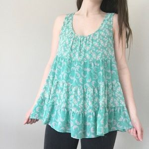 Lauren Conrad Teal Floral Baby Doll Tank Top Small